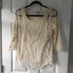 Cream lace top with built-in undershirt!